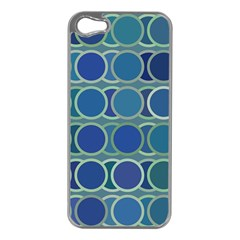 Circles Abstract Blue Pattern Apple iPhone 5 Case (Silver)