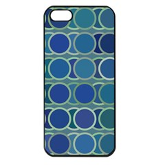 Circles Abstract Blue Pattern Apple Iphone 5 Seamless Case (black)