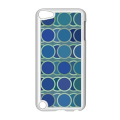 Circles Abstract Blue Pattern Apple iPod Touch 5 Case (White)