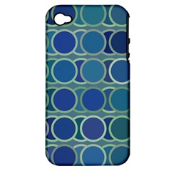 Circles Abstract Blue Pattern Apple iPhone 4/4S Hardshell Case (PC+Silicone)