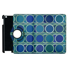 Circles Abstract Blue Pattern Apple Ipad 2 Flip 360 Case