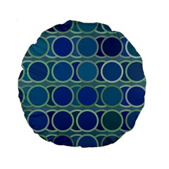 Circles Abstract Blue Pattern Standard 15  Premium Round Cushions