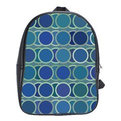 Circles Abstract Blue Pattern School Bags (XL)