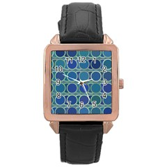 Circles Abstract Blue Pattern Rose Gold Leather Watch
