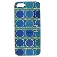 Circles Abstract Blue Pattern Apple Iphone 5 Hardshell Case With Stand