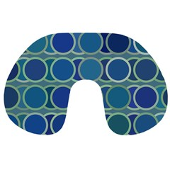 Circles Abstract Blue Pattern Travel Neck Pillows