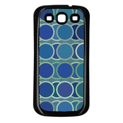 Circles Abstract Blue Pattern Samsung Galaxy S3 Back Case (black)
