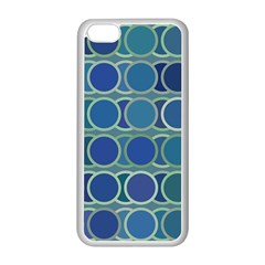 Circles Abstract Blue Pattern Apple Iphone 5c Seamless Case (white)