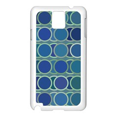 Circles Abstract Blue Pattern Samsung Galaxy Note 3 N9005 Case (white)
