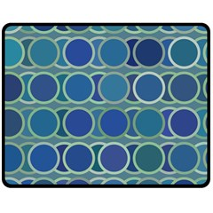 Circles Abstract Blue Pattern Double Sided Fleece Blanket (medium)