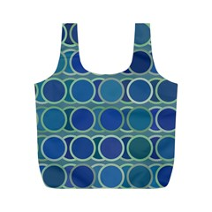 Circles Abstract Blue Pattern Full Print Recycle Bags (M)