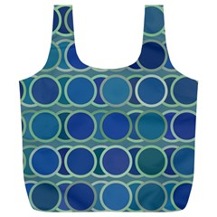 Circles Abstract Blue Pattern Full Print Recycle Bags (l)