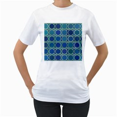 Circles Abstract Blue Pattern Women s T Shirt (white)