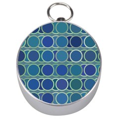 Circles Abstract Blue Pattern Silver Compasses