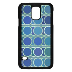 Circles Abstract Blue Pattern Samsung Galaxy S5 Case (black)
