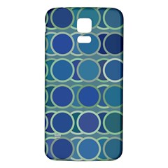Circles Abstract Blue Pattern Samsung Galaxy S5 Back Case (white)