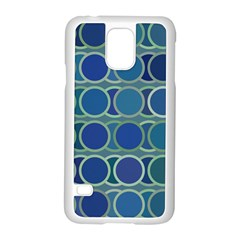 Circles Abstract Blue Pattern Samsung Galaxy S5 Case (White)