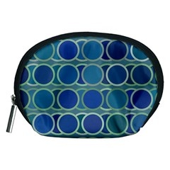 Circles Abstract Blue Pattern Accessory Pouches (Medium)