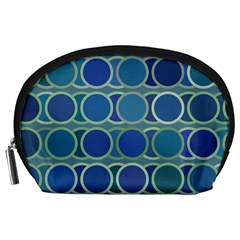 Circles Abstract Blue Pattern Accessory Pouches (large)