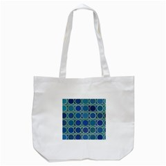Circles Abstract Blue Pattern Tote Bag (white)
