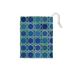 Circles Abstract Blue Pattern Drawstring Pouches (small)