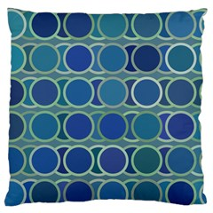 Circles Abstract Blue Pattern Large Flano Cushion Case (One Side)