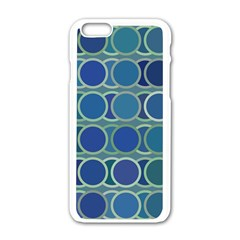 Circles Abstract Blue Pattern Apple Iphone 6/6s White Enamel Case