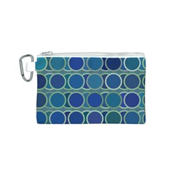 Circles Abstract Blue Pattern Canvas Cosmetic Bag (S)