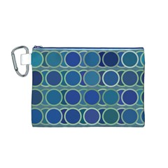Circles Abstract Blue Pattern Canvas Cosmetic Bag (m)