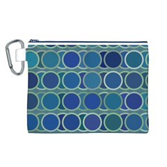 Circles Abstract Blue Pattern Canvas Cosmetic Bag (l)