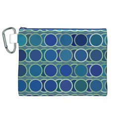 Circles Abstract Blue Pattern Canvas Cosmetic Bag (xl)
