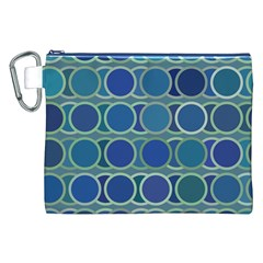 Circles Abstract Blue Pattern Canvas Cosmetic Bag (XXL)