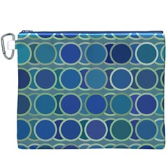 Circles Abstract Blue Pattern Canvas Cosmetic Bag (XXXL)