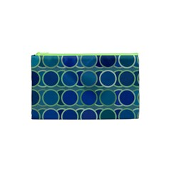 Circles Abstract Blue Pattern Cosmetic Bag (xs)