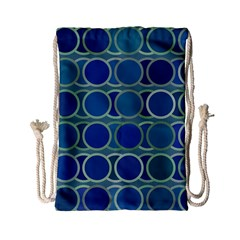 Circles Abstract Blue Pattern Drawstring Bag (Small)