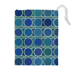 Circles Abstract Blue Pattern Drawstring Pouches (Extra Large)