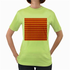 Simple Minimal Flame Background Women s Green T-Shirt