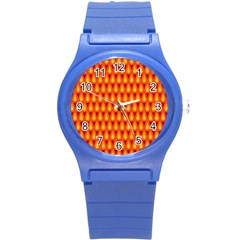Simple Minimal Flame Background Round Plastic Sport Watch (S)