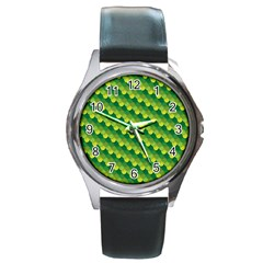 Dragon Scale Scales Pattern Round Metal Watch
