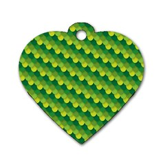 Dragon Scale Scales Pattern Dog Tag Heart (Two Sides)