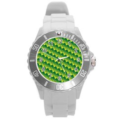 Dragon Scale Scales Pattern Round Plastic Sport Watch (L)