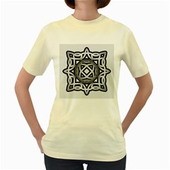 Celtic Draw Drawing Hand Draw Women s Yellow T-Shirt