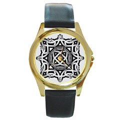 Celtic Draw Drawing Hand Draw Round Gold Metal Watch