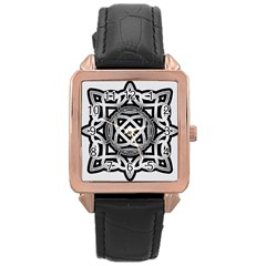 Celtic Draw Drawing Hand Draw Rose Gold Leather Watch