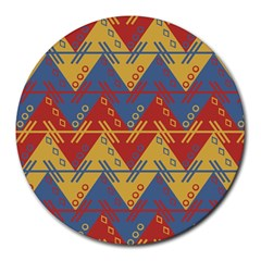 Aztec traditional ethnic pattern Round Mousepads