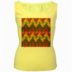 Aztec traditional ethnic pattern Women s Yellow Tank Top