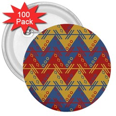 Aztec Traditional Ethnic Pattern 3  Buttons (100 Pack)