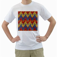Aztec traditional ethnic pattern Men s T-Shirt (White) (Two Sided)
