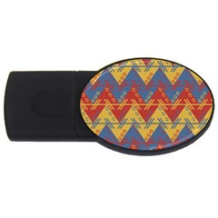Aztec Traditional Ethnic Pattern Usb Flash Drive Oval (4 Gb)