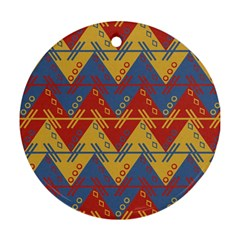 Aztec traditional ethnic pattern Round Ornament (Two Sides)